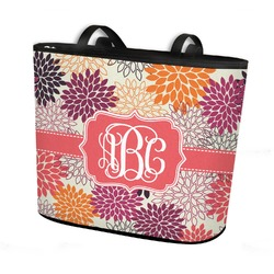 Mums Flower Bucket Tote w/ Genuine Leather Trim (Personalized)