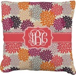 Mums Flower Faux-Linen Throw Pillow (Personalized)
