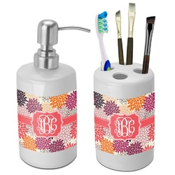 Mums Flower Bathroom Accessories Set (Ceramic) (Personalized)