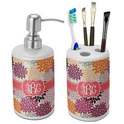 Mums Flower Bathroom Accessories Set (Ceramic) (Personalized)