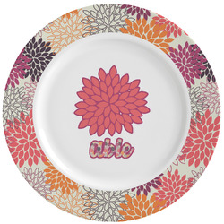 Mums Flower Ceramic Dinner Plates (Set of 4) (Personalized)