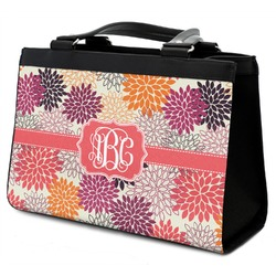 Mums Flower Classic Tote Purse w/ Leather Trim w/ Monogram