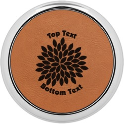 Mums Flower Leatherette Round Coaster w/ Silver Edge - Single or Set (Personalized)