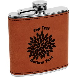 Mums Flower Leatherette Wrapped Stainless Steel Flask (Personalized)