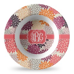 Mums Flower Plastic Bowl - Microwave Safe - Composite Polymer (Personalized)