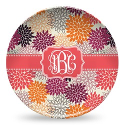 Mums Flower Microwave Safe Plastic Plate - Composite Polymer (Personalized)
