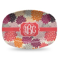 Mums Flower Plastic Platter - Microwave & Oven Safe Composite Polymer (Personalized)