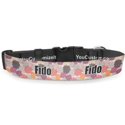 """Mums Flower Deluxe Dog Collar - Extra Large (16"""" to 27"""") (Personalized)"""