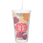 Mums Flower Double Wall Tumbler with Straw (Personalized)