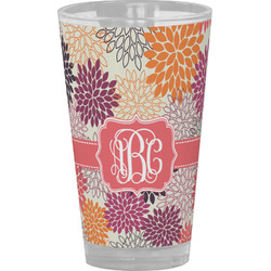 Mums Flower Drinking / Pint Glass (Personalized)