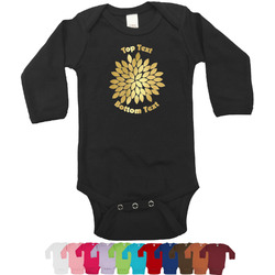 Mums Flower Foil Bodysuit - Long Sleeves - 6-12 months - Gold, Silver or Rose Gold (Personalized)