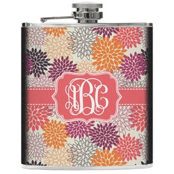 Mums Flower Genuine Leather Flask (Personalized)