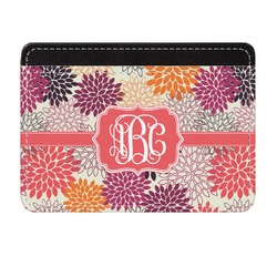 Mums Flower Genuine Leather Front Pocket Wallet (Personalized)