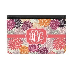 Mums Flower Genuine Leather ID & Card Wallet - Slim Style (Personalized)