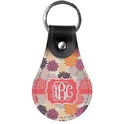 Mums Flower Genuine Leather  Keychain (Personalized)