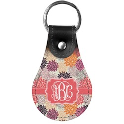 Mums Flower Genuine Leather  Keychain (Personalized)