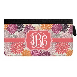 Mums Flower Genuine Leather Ladies Zippered Wallet (Personalized)