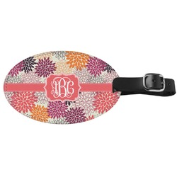 Mums Flower Genuine Leather Oval Luggage Tag (Personalized)