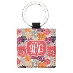 Mums Flower Genuine Leather Rectangular Keychain (Personalized)