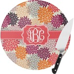 Mums Flower Round Glass Cutting Board (Personalized)