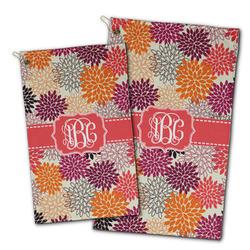 Mums Flower Golf Towel - Full Print w/ Monogram