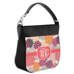 Mums Flower Hobo Purse w/ Genuine Leather Trim (Personalized)