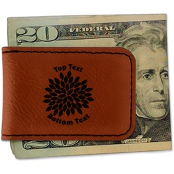 Mums Flower Leatherette Magnetic Money Clip (Personalized)