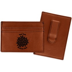 Mums Flower Leatherette Wallet with Money Clip (Personalized)