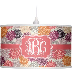 Mums Flower Drum Pendant Lamp Linen (Personalized)