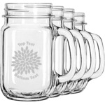 Mums Flower Mason Jar Mugs (Set of 4) (Personalized)