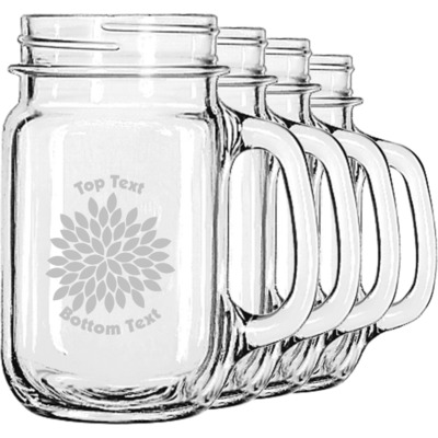 Mums Flower Mason Jar Mugs (Set of 4) (Personalized)