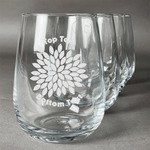 Mums Flower Stemless Wine Glasses (Set of 4) (Personalized)