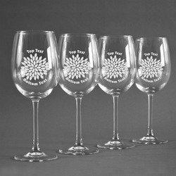 Mums Flower Wine Glasses (Set of 4) (Personalized)
