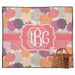 Mums Flower Outdoor Picnic Blanket (Personalized)