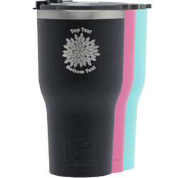 Mums Flower RTIC Tumbler - Black (Personalized)