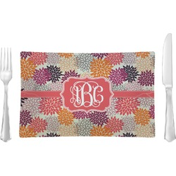 Mums Flower Rectangular Glass Lunch / Dinner Plate - Single or Set (Personalized)