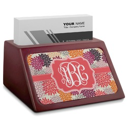 Mums Flower Red Mahogany Business Card Holder (Personalized)