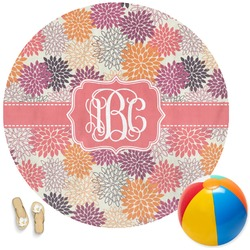 Mums Flower Round Beach Towel (Personalized)