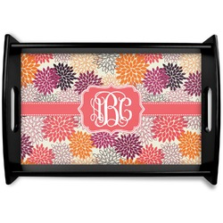 Mums Flower Black Wooden Tray (Personalized)