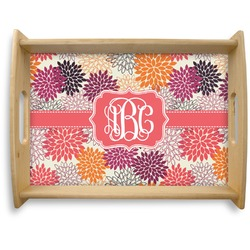 Mums Flower Natural Wooden Tray - Large (Personalized)