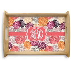 Mums Flower Natural Wooden Tray (Personalized)