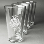 Mums Flower Beer Glasses (Set of 4) (Personalized)