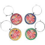 Mums Flower Wine Charms (Set of 4) (Personalized)