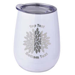 Mums Flower Stemless Wine Tumbler - 5 Color Choices - Stainless Steel  (Personalized)