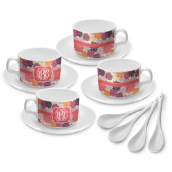 Mums Flower Tea Cup - Set of 4 (Personalized)