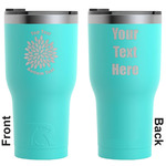 Mums Flower RTIC Tumbler - Teal - Engraved Front & Back (Personalized)