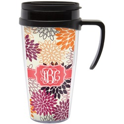 Mums Flower Travel Mug with Handle (Personalized)