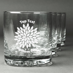 Mums Flower Whiskey Glasses (Set of 4) (Personalized)