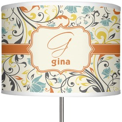 """Swirly Floral 13"""" Drum Lamp Shade (Personalized)"""