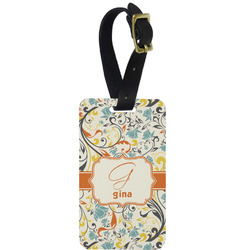 Swirly Floral Aluminum Luggage Tag (Personalized)